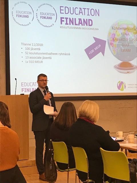 Suomen koulutusviennin kokonaistilanteesta kertoi Education Finland -kasvuohjelman ohjelmajohtaja Lauri Tuomi